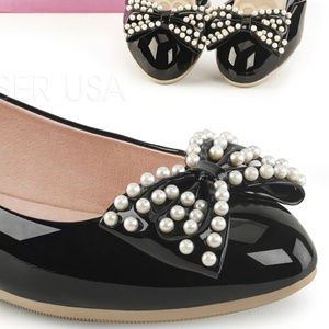 Shoes - Pointy Flats Pearl Bow Ballet Pin Up Shoes Black